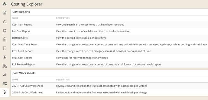 Cost Report Descriptions